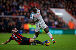 BOURNEMOUTH, ENGLAND - Saturday, December 8, 2018: Liverpool's Sadio Mane is tackled by AFC Bournemouth's Steve Cook during the FA Premier League match between AFC Bournemouth and Liverpool FC at the Vitality Stadium. (Pic by David Rawcliffe/Propaganda)