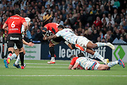 Virimi Vakatawa (Racing 92) catched Ma'a Allan Nonu (Rugby Club Toulonnais), Henry CHAVANCY (Racing 92) and Guilhem Guirado (Rugby Club Toulonnais) on the floor, Jean Monribot (Rugby Club Toulonnais), Patrick Lambie (Racing 92) during the French Championship Top 14 Rugby Union match between Racing 92 and RC Toulon on April 8, 2018 at U Arena in Nanterre, France - Photo Stephane Allaman / ProSportsImages / DPPI