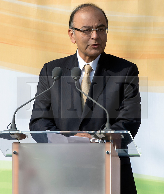 © Licensed to London News Pictures. 14/03/2015. <br /> LONDON, UK. Indian finance minister, Arun Jaitley speaks at the unveiling of a 9ft-high bronze statue of civil rights leader, Mahatma Gandhi in Parliament Square, central London today. Photo credit: Hannah McKay/LNP