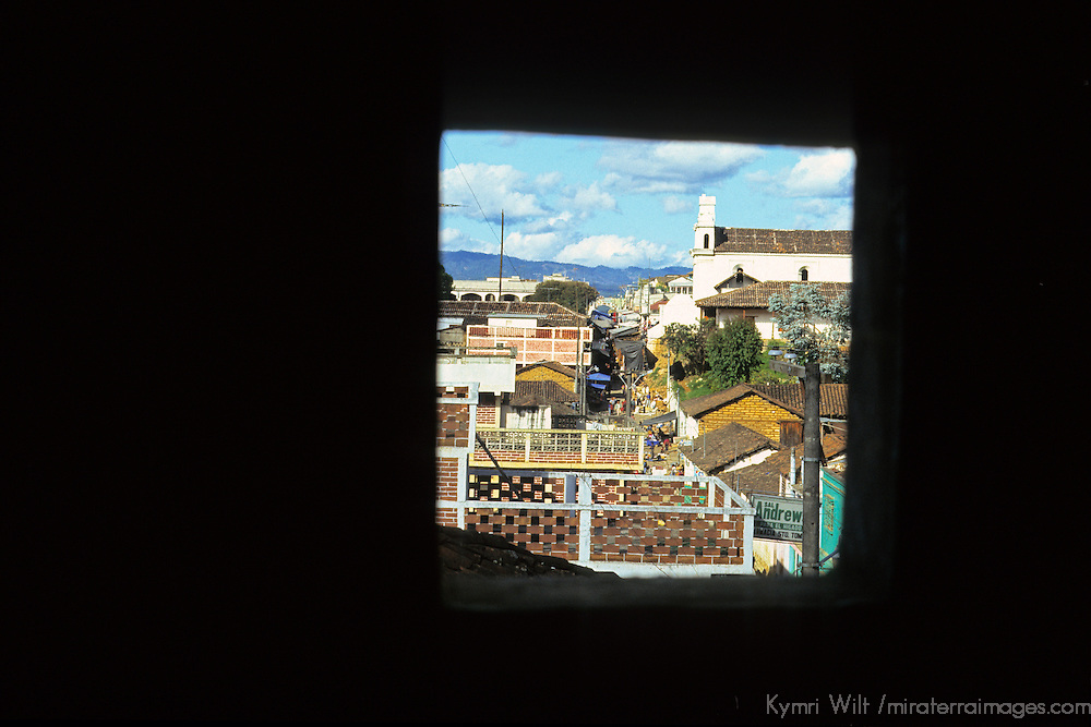 Central America, Latin America, Guatemala, Chichicastenango. Window view of main church and road in Chichicastenango.