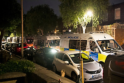 © Licensed to London News Pictures. 26/06/2020. London, UK. Large numbers of police attend an illegal Street Party at Riverton Close in Maida Vale, West London.  A number of similar events have occurred across the capital, with some resulting in violence towards police. Photo credit: Ben Cawthra/LNP
