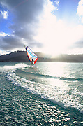 Windsurfing, Kaneohe Bay, Kaneohe, Oahu, Hawaii, USA<br />