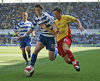 Photo: Lee Earle.<br /> Reading v Watford. The Barclays Premiership. 05/05/2007.Reading's Greg Halford (L) battles with Watford's Tommy Smith.