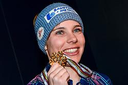 07, St. Moritz, SUI, FIS Weltmeisterschaften Ski Alpin, St. Moritz 2017, Super G, Damen, Siegerehrung, im Bild Nicole Schmidhofer (AUT, Weltmeisterin) // Nicole Schmidhofer (AUT, Weltmeisterin) during the winner ceremony for the ladie's SuperG of the FIS Ski World Championships 2017. St. Moritz, Switzerland on 2017/02/07. EXPA Pictures © 2017, PhotoCredit: EXPA/ Jonas Ericson