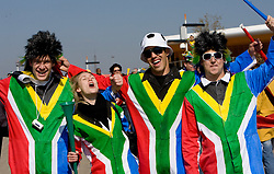 South Africa and Mexico fans arrive for the Opening Ceremony ahead of the 2010 FIFA World Cup South Africa Group A match between South Africa and Mexico at Soccer City Stadium on June 11, 2010 in Johannesburg, South Africa.  (Photo by Vid Ponikvar / Sportida)