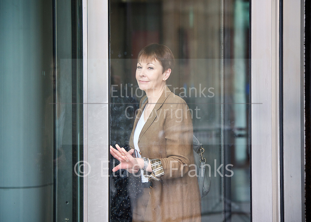 Andrew Marr Show <br /> departures <br /> BBC, Broadcasting House, London, Great Britain <br /> 2nd April 2017 <br /> <br /> <br /> Caroline Lucas <br /> Green Party <br /> <br /> <br /> Photograph by Elliott Franks <br /> Image licensed to Elliott Franks Photography Services