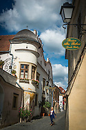 Durnstein, Danube, Lower Austria, September 2015. The pretty town of Dürnstein, on a supple curve in the Danube, is not only known for its beautiful buildings but also for the castle above the town where Richard I (the Lionheart) of England was once imprisoned. Austria's most spectacular section of the Danube is the dramatic stretch of river between Krems an der Donau and Melk, known as the Wachau. Here the landscape is characterised by vineyards, forested slopes, wine-producing villages and imposing fortresses at nearly every bend. The Wachau is today a Unesco World Heritage site, due to its harmonious blend of natural and cultural beauty. Photo by Frits Meyst / MeystPhoto.com