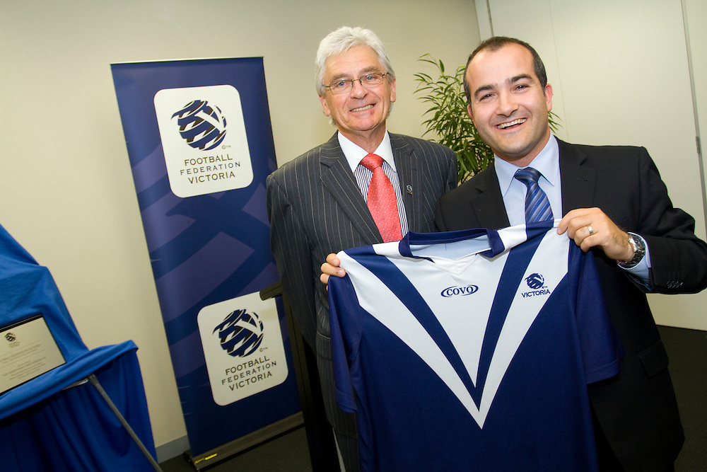 Victorian Minister for Sport and Recreation and Youth Affairs, James Merlino, and FFV president Tony Dunkerley, open the new headquarters of Football Federation Victoria (FFV)