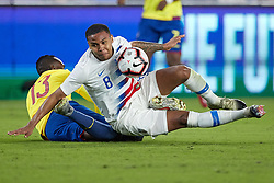 March 21, 2019 - Orlando, FL, U.S. - ORLANDO, FL - MARCH 21: United States midfielder Weston McKennie (8) battles with Ecuador defender Beder Caicedo (13) for the ball in game action during an International friendly match between the United States and Ecuador on March 21, 2019 at Orlando City Stadium in Orlando, FL. (Photo by Robin Alam/Icon Sportswire) (Credit Image: © Robin Alam/Icon SMI via ZUMA Press)