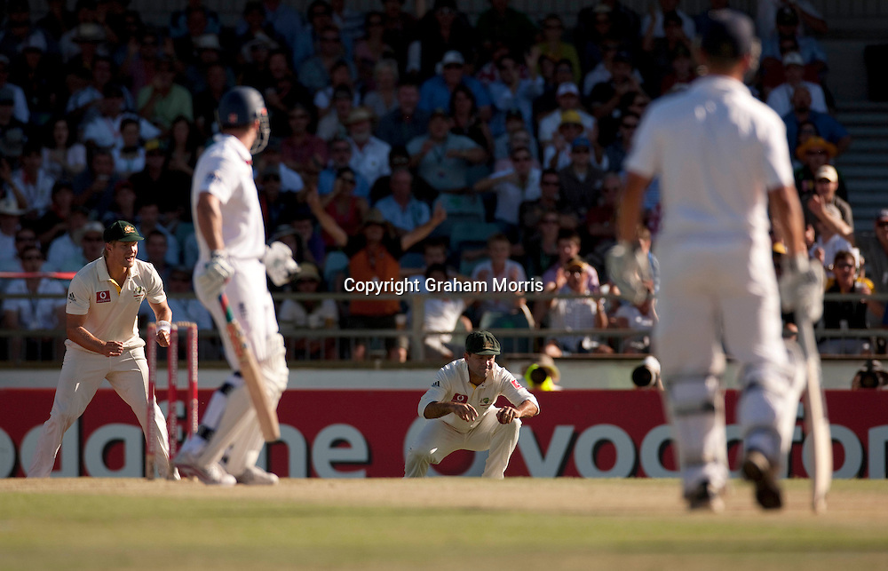 Ricky Ponting catches Andrew Strauss during the third Ashes test match between Australia and England at the WACA (West Australian Cricket Association) ground in Perth, Australia. Photo: Graham Morris (Tel: +44(0)20 8969 4192 Email: sales@cricketpix.com) 18/12/10