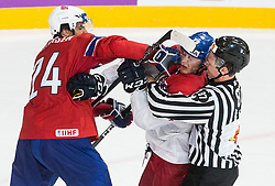 Andreas Martinsen of Norway in fight with Tomas Zohorna of Czech Republic during the 2017 IIHF Men's World Championship group B Ice hockey match between National Teams of Czech Republic and Norway, on May 11, 2017 in AccorHotels Arena in Paris, France. Photo by Vid Ponikvar / Sportida