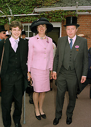 Left to right, the HON.EDWARD SACKVILLE and his parents the EARL & COUNTESS DE LA WARR, at Royal Ascot on 17th June 1997.LZI 99