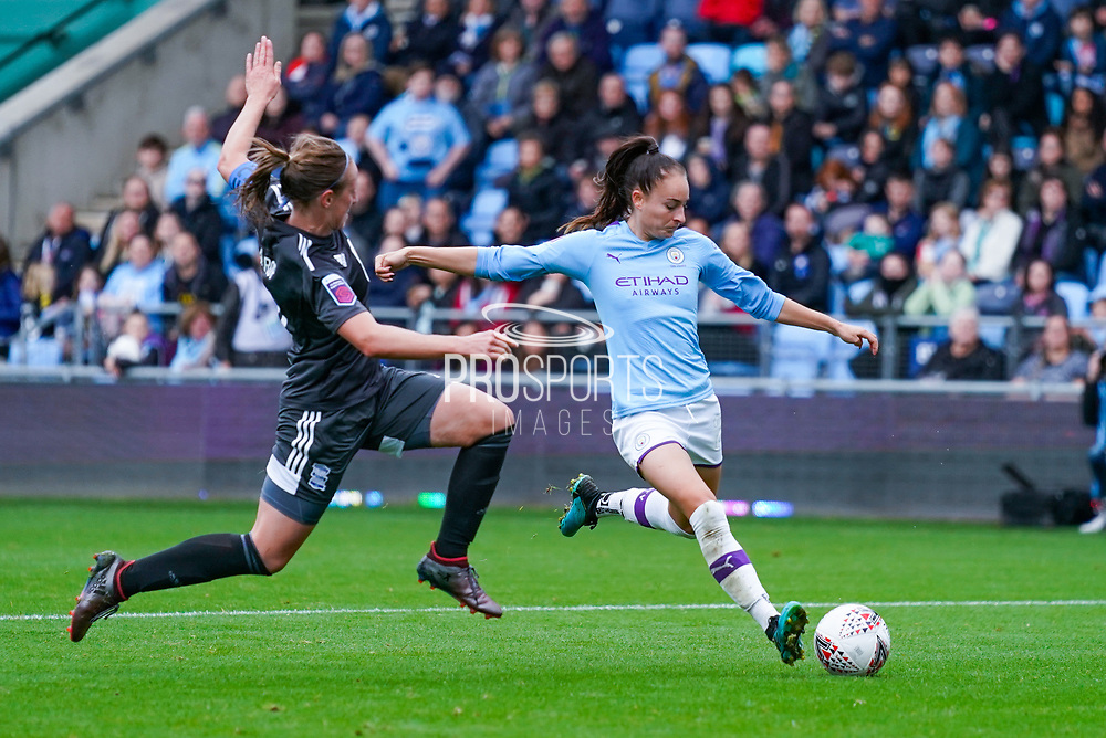 Manchester City Women forward Tessa Wullaert (25) takes a shot during the FA Women's Super League match between Manchester City Women and BIrmingham City Women at the Sport City Academy Stadium, Manchester, United Kingdom on 12 October 2019.