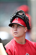 ANAHEIM, CA - JULY 20:  Mike Morin #64 of the Los Angeles Angels of Anaheim looks on with his baseball glove on his head during the game against the Seattle Mariners at Angel Stadium on Sunday, July 20, 2014 in Anaheim, California. The Angels won the game 6-5. (Photo by Paul Spinelli/MLB Photos via Getty Images) *** Local Caption *** Mike Morin