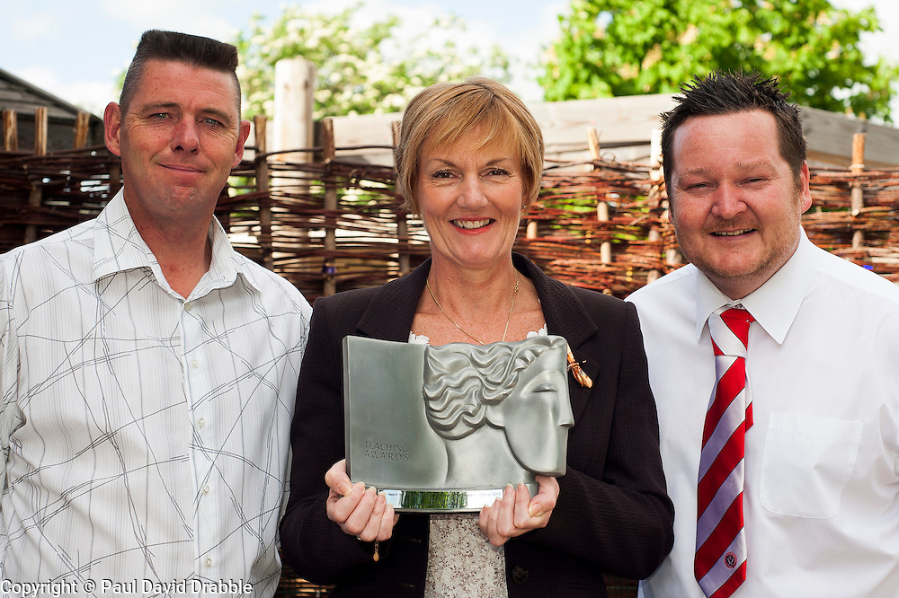 Julie Allen head teacher Birkwood Primary School, Cudworth who has won Head Teacher of the Year for the North East of England 2013 with Parent Steve Borrowdale and Deputy Head Teacher Dan Wood who nominated Julie for the Award<br /> <br /> 22 May 2013<br /> Image © Paul David Drabble<br /> www.pauldaviddrabble.co.uk