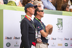 Carl Hester and Team GBR Chef d'Equipe Richard Waygood supporting Michael Eilberg - Freestyle Grand Prix Dressage - Alltech FEI World Equestrian Games™ 2014 - Normandy, France.<br /> © Hippo Foto Team - Jon Stroud<br /> 25/06/14
