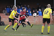 Holly Wride and Sophie Perry during the Women's FA Cup match between Watford Ladies FC and Brighton Ladies at the Broadwater Stadium, Berkhampstead, United Kingdom on 1 February 2015. Photo by Stuart Butcher.