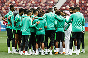 Saudi Arabia Sports Minister Turki al-Sheikh with the players during the Saudi Arabia training session on June 13, 2018 the day before the opening match of the 2018 FIFA World Cup Russia, Group A football match between Russia and Saudi Arabia at Luzhniki Stadium in Moscow, Russia - Photo Thiago Bernardes / FramePhoto / ProSportsImages / DPPI