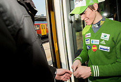 Peter Prevc prior to the departure of a train Ljubljana - Jesenice where will be placed press conference of Slovenian Ski jumping team, on March 18, 2015 in Ljubljana train station, Slovenia. Photo by Vid Ponikvar / Sportida