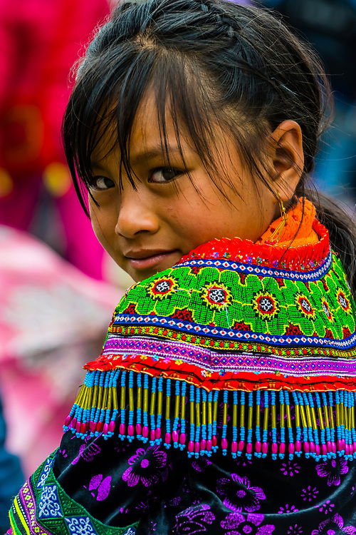Flower Hmong (hill tribe) girl at the Sunday market at Bac Ha, northern Vietnam. Every Sunday ethnic minorities come from surrounding villages and hills to buy and sell everything from homemade wares to farm animals such as chickens, pigs, horses and buffaloes. Ha, northern Vietnam. Every Sunday ethnic minorities gather to buy and sell everything from homemade wares to farm animals such as chickens, pigs, horses and buffaloes.
