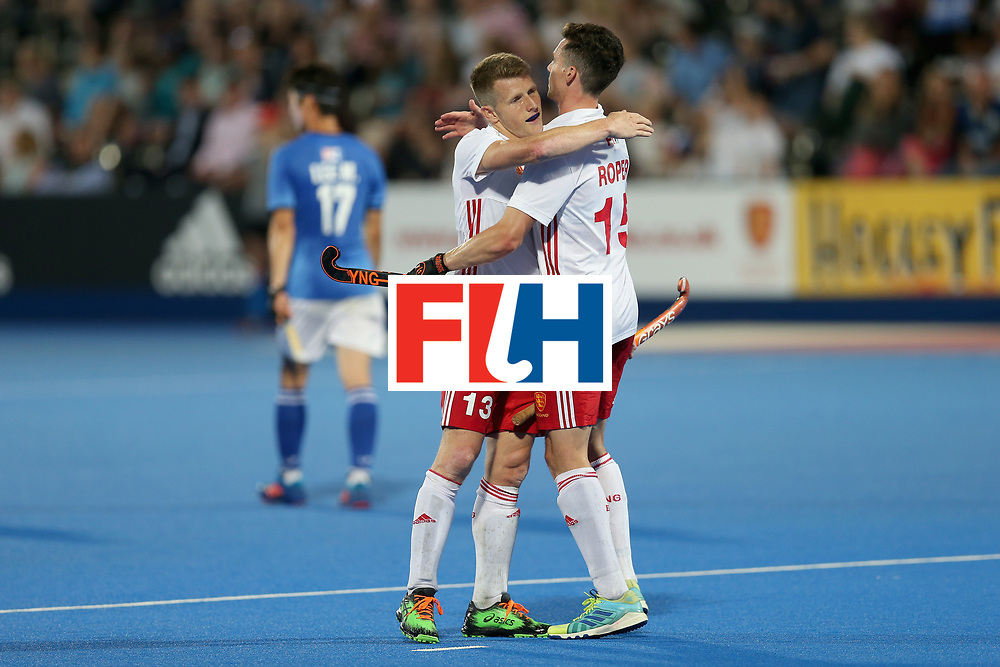 LONDON, ENGLAND - JUNE 20: Sam Ward of England celebrates scoring his sixth fifth goal with Mark Gleghorne of England during the Pool A match between England and South Korea on day six of the Hero Hockey World League Semi-Final at Lee Valley Hockey and Tennis Centre on June 20, 2017 in London, England.  (Photo by Alex Morton/Getty Images)