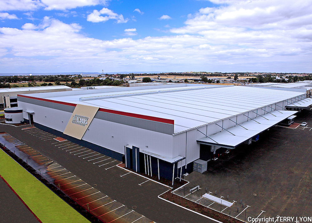 Coastal Roofing 16,000sqm roof for Fielders photographed from top of a 30m cherry picker