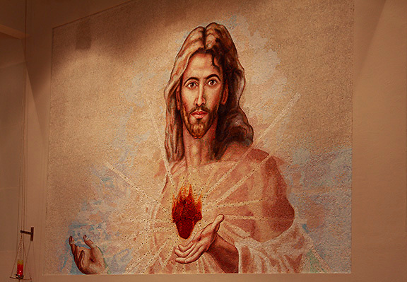 mosaic; Sacred Heart of Jesus; religious art; eyes follow viewer
