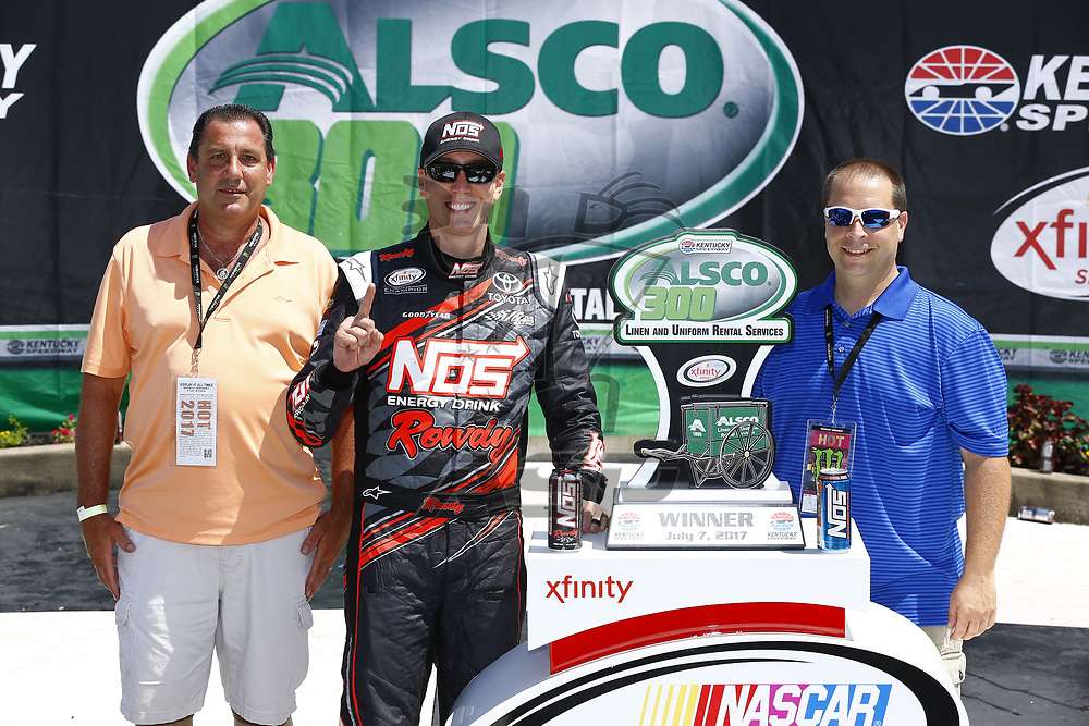 July 08, 2017 - Sparta, KY, USA: Kyle Busch (18) wins the Alsco 300 at Kentucky Speedway in Sparta, KY.