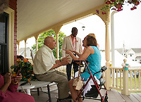 Jen and Tony's Wedding Day.  Gathering on the Porch  York, Maine.  ©2015 Karen Bobotas Photographer