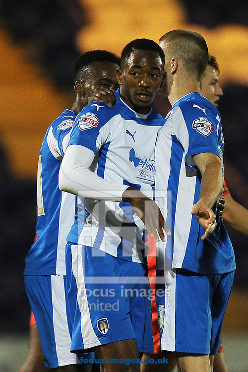 Sanchez Watt of Colchester United celebrates scoring a goal to make the scoreline 2-1 during the Johnstone's Paint Trophy match between Colchester United and Gillingham at the Weston Homes Community Stadium, Colchester<br /> Picture by Richard Blaxall/Focus Images Ltd +44 7853 364624<br /> 07/10/2014