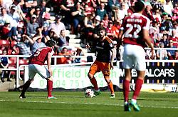 Kieron Freeman of Sheffield United takes on David Buchanan of Northampton Town - Mandatory by-line: Robbie Stephenson/JMP - 08/04/2017 - FOOTBALL - Sixfields Stadium - Northampton, England - Northampton Town v Sheffield United - Sky Bet League One