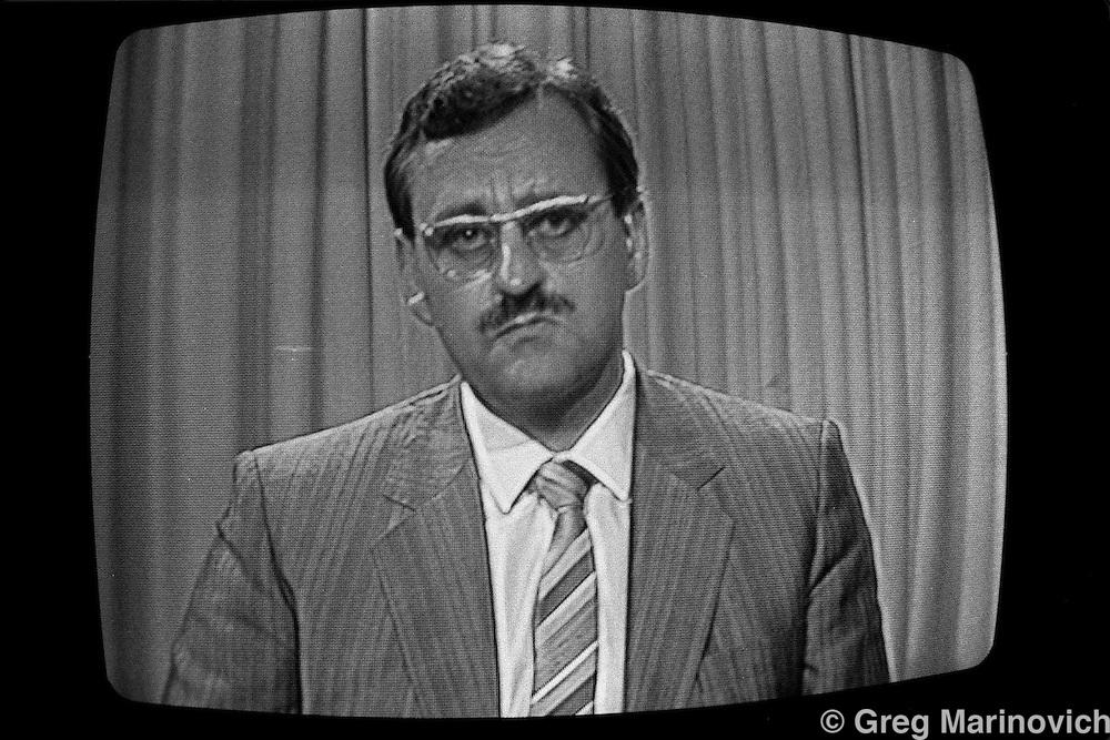 State run television image, South Africa. 1984/5(Greg Marinovich)