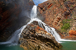 Water cascades down Turtle Falls in Dugong Bay in the 2011 Kimberley wet season