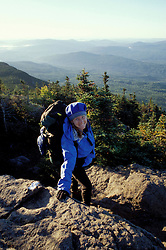 East Horn, Bigelow Mountain, ME. Hiking on the Appalachian Trail. Northern Forest.