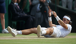 LONDON, ENGLAND - Sunday, July 4th, 2010: Rafael Nadal (ESP) celebrates after winning the Gentlemen's Singles Final match 6-3, 7-5, 6-4 on day thirteen of the Wimbledon Lawn Tennis Championships at the All England Lawn Tennis and Croquet Club. (Pic by David Rawcliffe/Propaganda)
