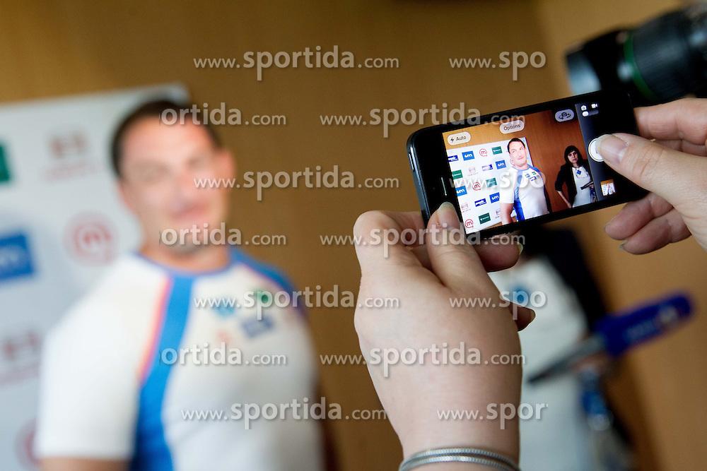 Athlete Primoz Kozmus during his press conference before new season 2013, on April 23, 2013,in Gen-i energija, Krsko, Slovenia. (Photo By Vid Ponikvar / Sportida.com)