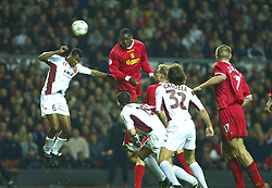 LIVERPOOL, ENGLAND - Tuesday, March 19, 2002: Liverpool's Emile Heskey scores the second against AS Roma during the UEFA Champions League Group B match at Anfield. (Pic by David Rawcliffe/Propaganda)