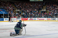 KELOWNA, CANADA - APRIL 30: Carl Stankowski #1 of the Seattle Thunderbirds kneels on the ice during a time out against the Kelowna Rockets on April 30, 2017 at Prospera Place in Kelowna, British Columbia, Canada.  (Photo by Marissa Baecker/Shoot the Breeze)  *** Local Caption ***