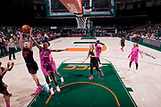 February 11, 2018: Ama Degbeon #25 of Florida State rebounds against Emese Hof #21 of Miami during the NCAA basketball game between the Miami Hurricanes and the Florida State Seminoles in Coral Gables, Florida. The Seminoles defeated the 'Canes 91-71.