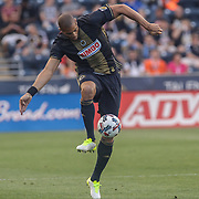 Philadelphia Union Defender OGUCHI ONYEWU (5) advances the ball in the first half of a Major League Soccer match between the Philadelphia Union and Columbus Crew SC Saturday, July. 26, 2017, at Talen Energy Stadium in Chester, PA.