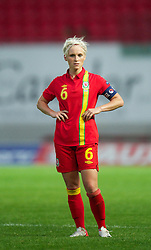 LLANELLI, WALES - Saturday, September 15, 2012: Wales' captain Jessica Fishlock looks dejected as Scotland score the second goal during the UEFA Women's Euro 2013 Qualifying Group 4 match at Parc y Scarlets. (Pic by David Rawcliffe/Propaganda)