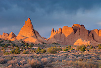 Sandstone fins glowing in the light of the setting sun, Arches National Park Utah USA
