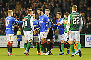 Tempers fray during the Ladbrokes Scottish Premiership match between Hibernian and Rangers at Easter Road, Edinburgh, Scotland on 19 December 2018.