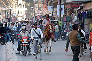 Busy street scene in holy city of Varanasi, Benares, Northern India