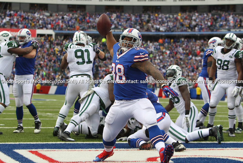 17 November 2013: Buffalo Bills fullback Frank Summers (38) spikes the ball after scoring a touchdown during a NFL game between the New York Jets and the Buffalo Bills at Ralph Wilson Stadium in Orchard Park, NY.