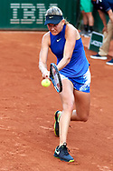 Paris, France - 2017 May 30: Fiona Ferro from France plays a backhand during her women's single match first round during tennis Grand Slam tournament The French Open 2017 (also called Roland Garros) at Stade Roland Garros on May 30, 2017 in Paris, France.<br /> <br /> Mandatory credit:<br /> Photo by © Adam Nurkiewicz<br /> <br /> Adam Nurkiewicz declares that he has no rights to the image of people at the photographs of his authorship.<br /> <br /> Picture also available in RAW (NEF) or TIFF format on special request.<br /> <br /> Any editorial, commercial or promotional use requires written permission from the author of image.
