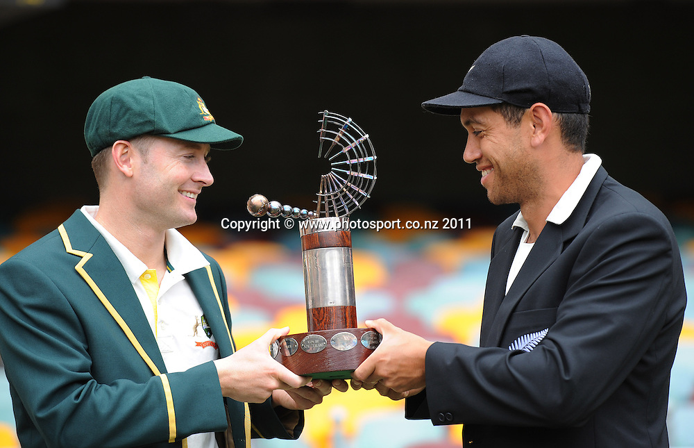New Zealand Cricket captain Ross Taylor poses for a picture with Australian Captain Michael Clarke with the Trans Tasman captain ahead of the first cricket test in Brisbane tomorrow. Wednesday 30 November 2011. Photo: Andrew Cornaga/Photosport.co.nz