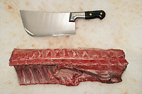Cleaver and Raw Meat on Countertop view from above