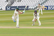 Colin Ackemann hits Ollie Rayner for 4 off one leg during the Specsavers County Champ Div 2 match between Middlesex County Cricket Club and Leicestershire County Cricket Club at Lord's Cricket Ground, St John's Wood, United Kingdom on 17 May 2019.