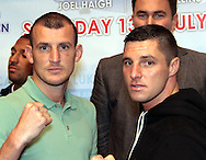 Picture by Richard Gould/Focus Images Ltd +44 7855 403186<br /> 22/06/2013<br /> Drew Mathews (left0 &amp; Tommy Coyle pictured during a press conference at Hull City Hall.